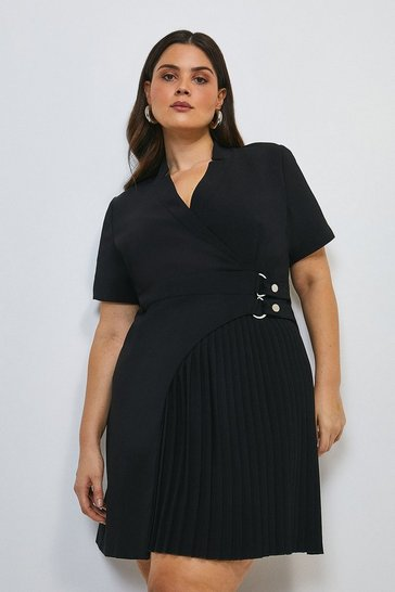 Black Curve Military Pleat Notch Neck Wrap Dress