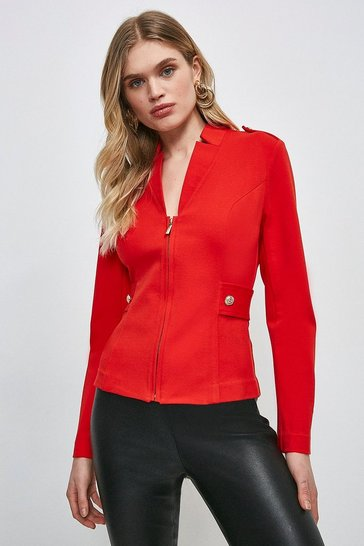 Red Military Zip Front Ponte Blazer