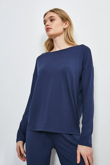 Navy Lounge Viscose Jersey Batwing Top