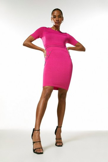 Hot pink Sheer Stripe Short Sleeve Knitted Dress