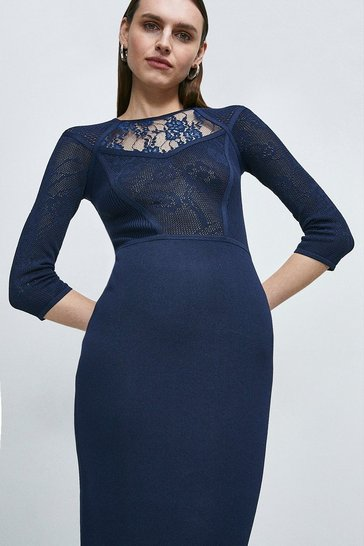 Navy Pointelle Lace Insert Dress