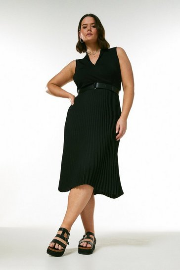 Black Curve Belted Collared Pleat Skirt Knit Dress