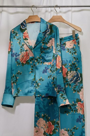 Duck egg blue Floral Satin Revere Nightwear Top