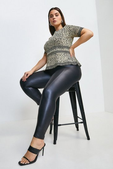 Black Curve Seam Detail Faux Leather Legging