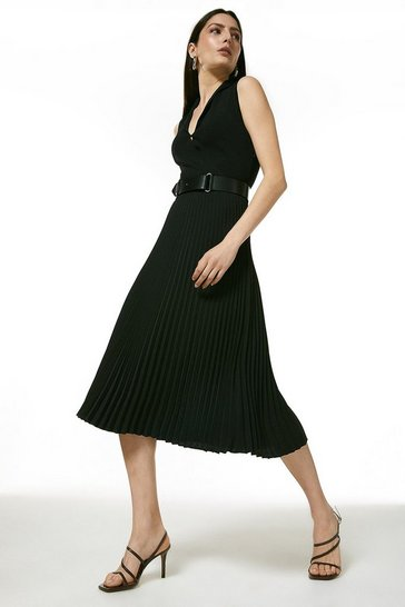 Black Belted Pleat Skirt Knitted Dress With Collar