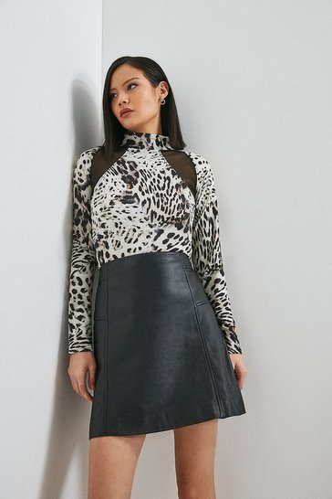 Snow Leopard Printed Jersey And Mesh Top