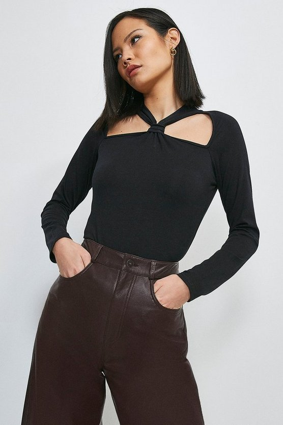 Black Viscose Jersey Cut Out Top