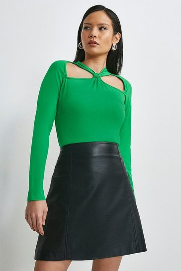 Bright green Viscose Jersey Cut Out Top