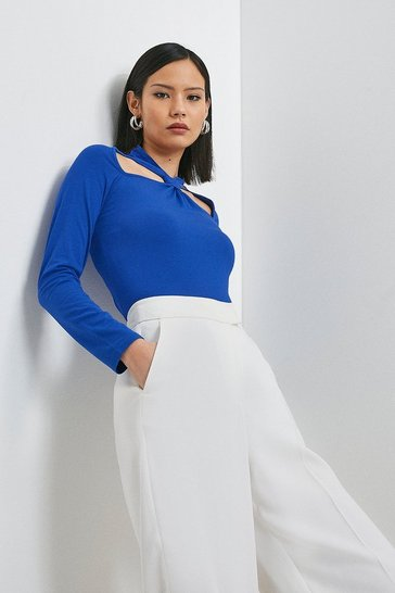Cobalt Viscose Jersey Cut Out Top