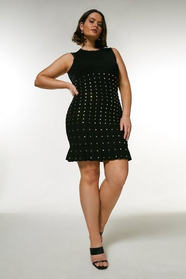 Black Curve Knitted Dress With Peplum And Studs