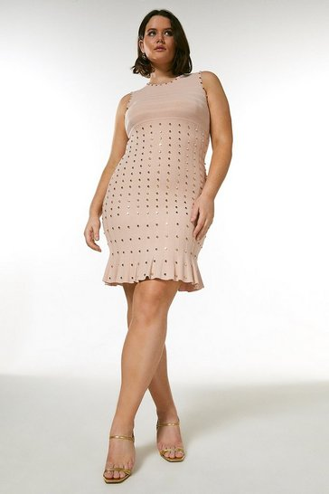 Blush Curve Knitted Dress With Peplum And Studs