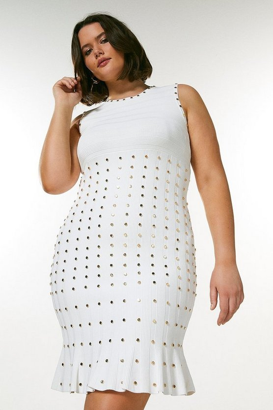 Ivory Curve Knitted Dress With Peplum And Studs