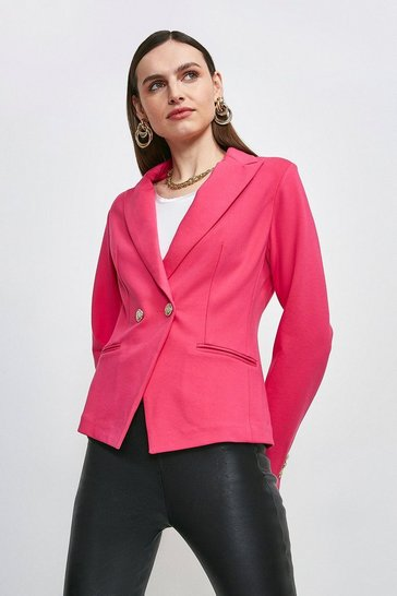 Bright pink Military Button Ponte Blazer