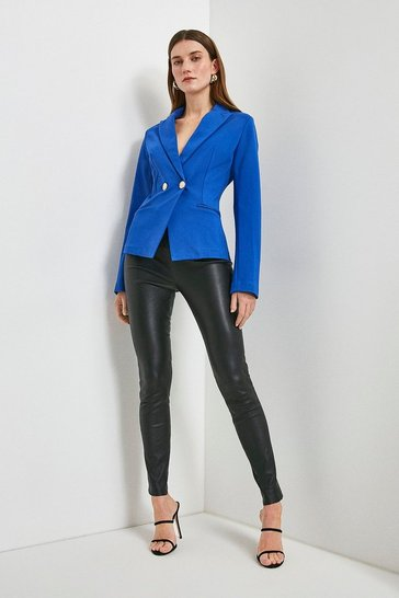 Cobalt Military Button Ponte Blazer