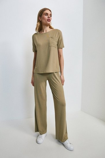 Khaki Lounge Viscose Jersey Wide Leg Trousers
