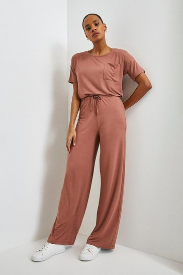 Mink Lounge Viscose Jersey Wide Leg Trousers