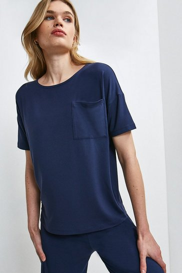 Navy Lounge Viscose Jersey Short Sleeve Top