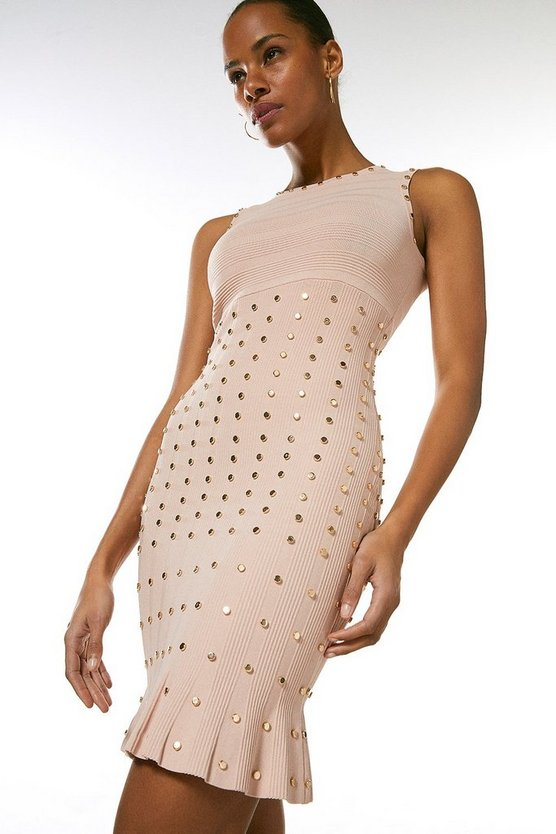 Blush Knitted Dress With Peplum And Stud Detail