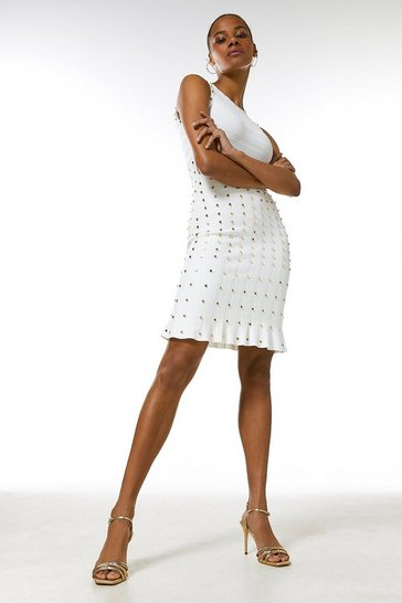 Ivory Knitted Dress With Peplum And Stud Detail