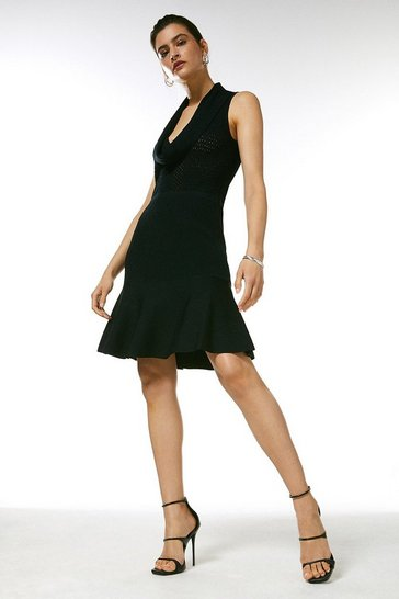 Black Cowl Neck Pointelle Knitted Dress