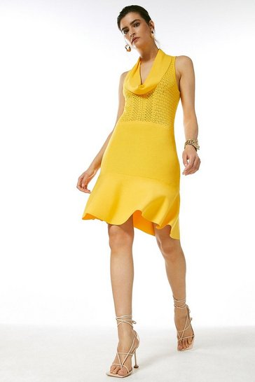 Yellow Cowl Neck Pointelle Knitted Dress