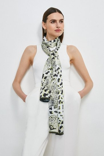 Cream Leopard Print Long Satin Scarf