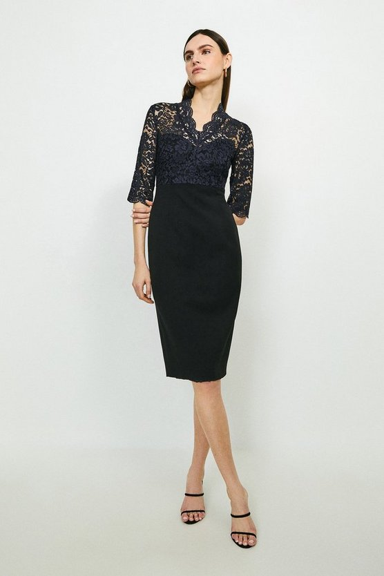 Multi Forever Italian Lace Bodice Pencil Dress