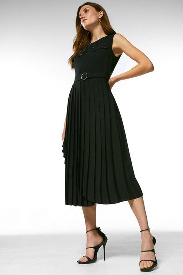 Black Pleated Wrap Skirt Belted Dress