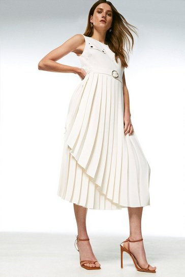 Cream Pleated Wrap Skirt Belted Dress