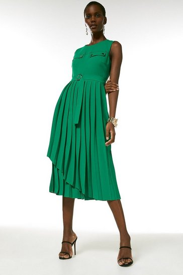 Green Pleated Wrap Skirt Belted Dress