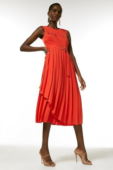Red Pleated Wrap Skirt Belted Dress