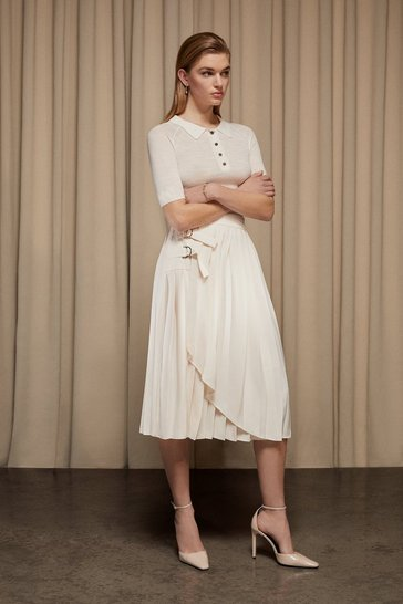 Ivory Pleated D Ring Wrap Midi Skirt