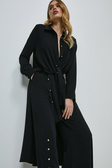 Black Relaxed Side Button Shirt Dress