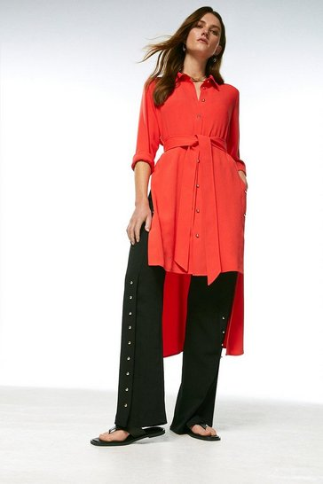 Coral Relaxed Side Button Shirt Dress
