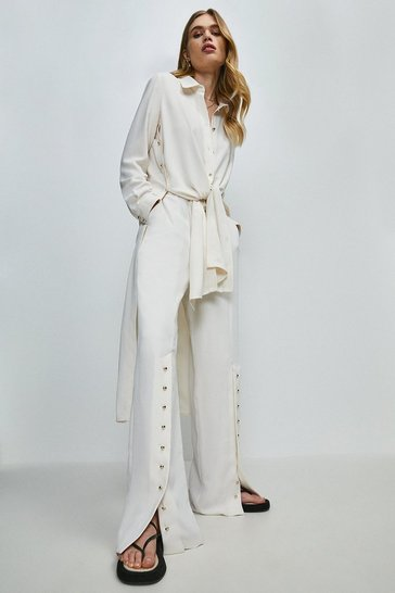 Ivory Relaxed Side Button Shirt Dress