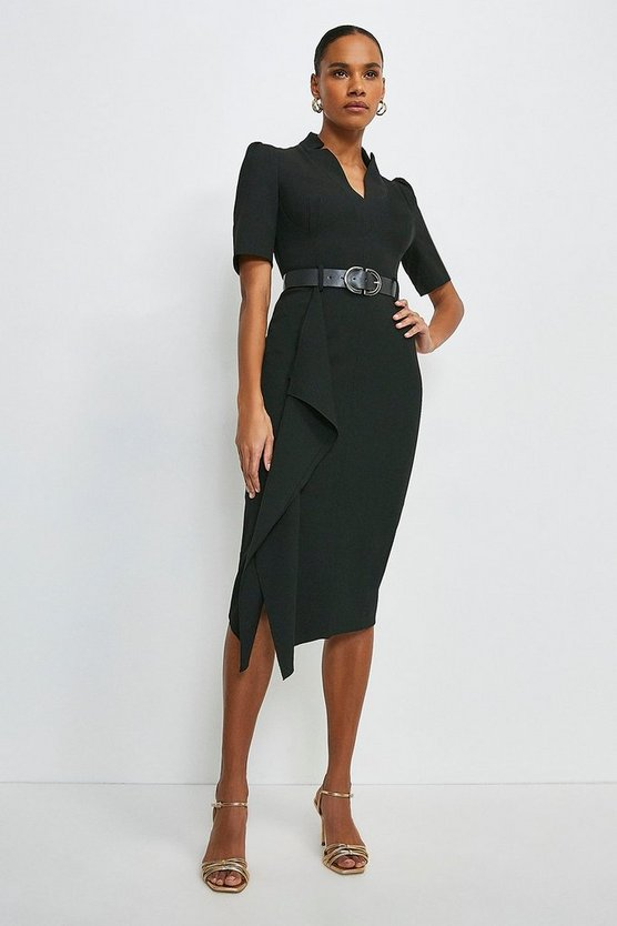 Black Structured Crepe Forever Waterfall Dress