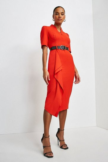 Red Structured Crepe Forever Waterfall Dress