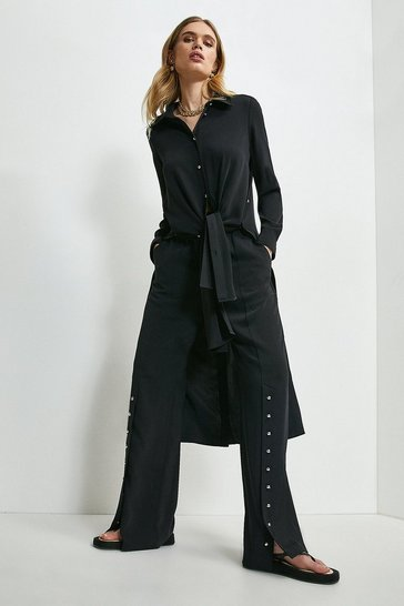 Black Relaxed Button Split Hem Wide Leg Trousers
