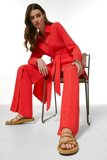 Coral Relaxed Button Split Hem Wide Leg Trousers