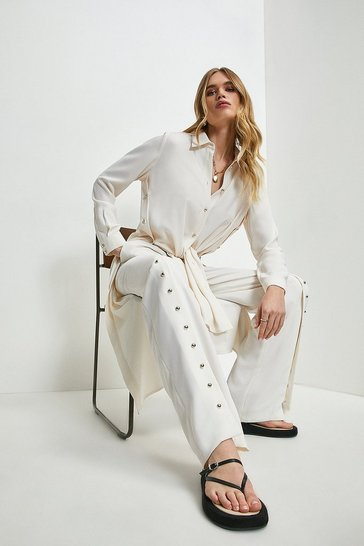 Ivory Relaxed Button Split Hem Wide Leg Trousers