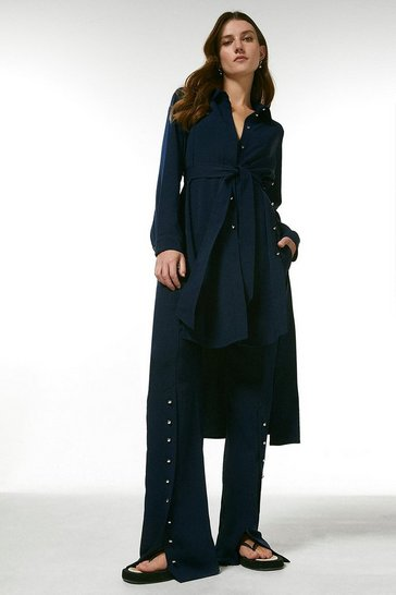Navy Relaxed Button Split Hem Wide Leg Trousers