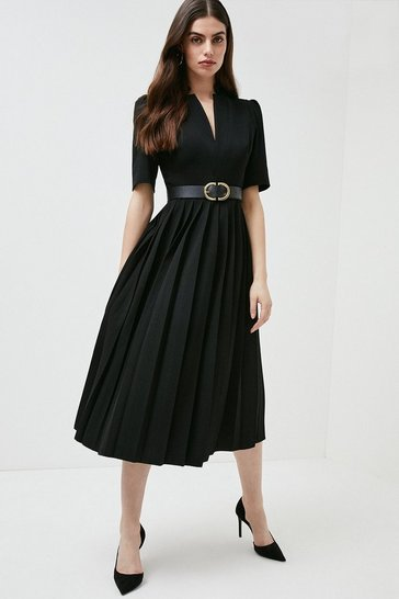 Black Structured Crepe Forever Pleated Midi Dress