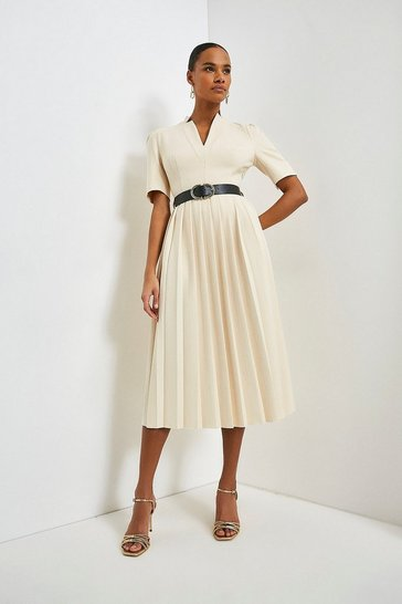 Ivory Structured Crepe Forever Pleated Midi Dress