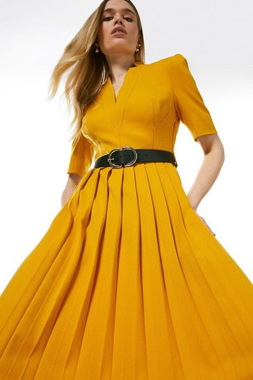 Ochre Structured Crepe Forever Pleated Midi Dress