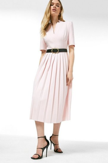 Pink Structured Crepe Forever Pleated Midi Dress