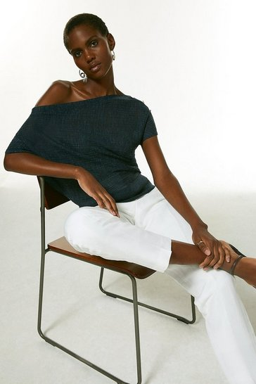 Navy Drape Shoulder Linen Rib Knit Top