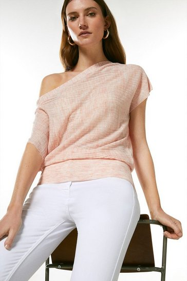 Soft pink Drape Shoulder Linen Rib Knit Top
