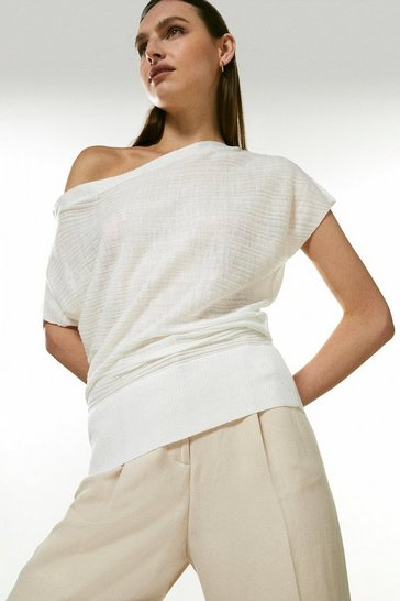 White Drape Shoulder Linen Rib Knit Top