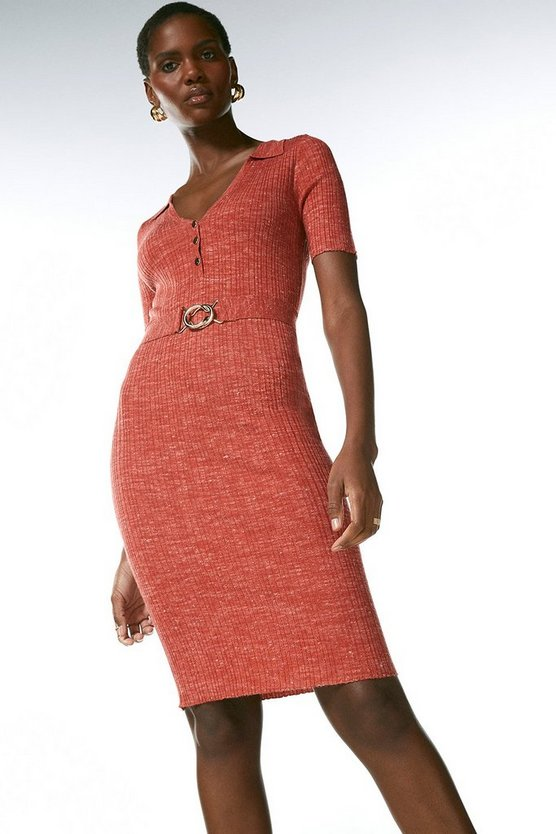 Rust Linen Rib Knit Collared Dress