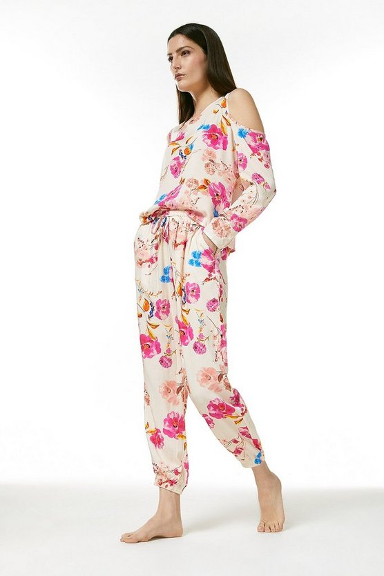Cream Floral Cuff Nightwear Pant